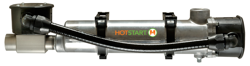 Compact heaters that feature a built-in thermostat and multiple heat and voltage options for diesel or gas engines.