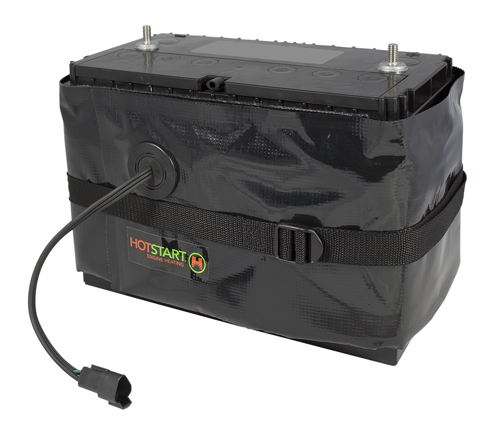 Large rectangular battery with a thermal blanket heater wrapped around the box secured by a nylon strap